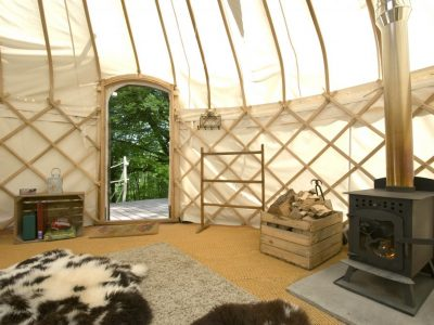 YURT INTERIOR STOVE + DOOR 1